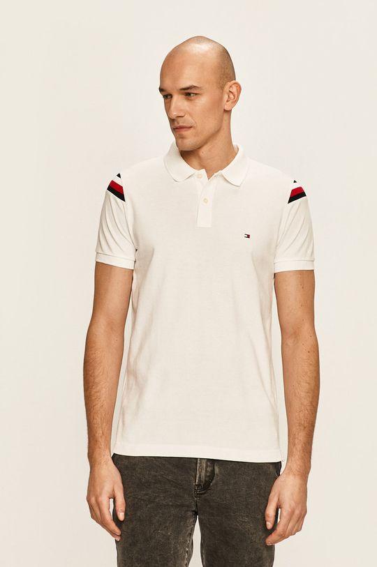 бял Tommy Hilfiger - Тениска с яка