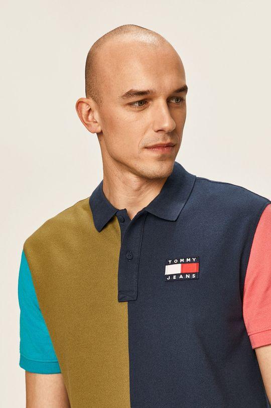 тъмносин Tommy Jeans - Тениска с яка Чоловічий
