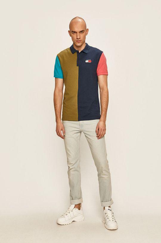 Tommy Jeans - Тениска с яка тъмносин