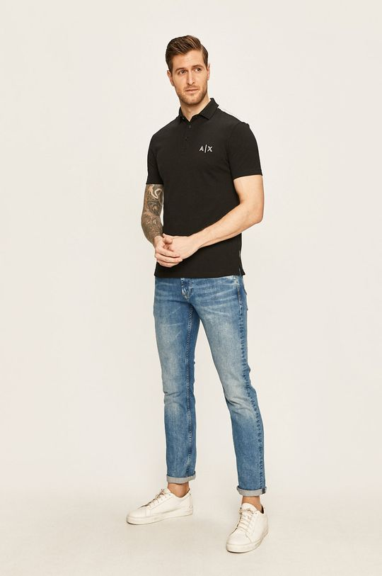 Armani Exchange - Tricou Polo negru