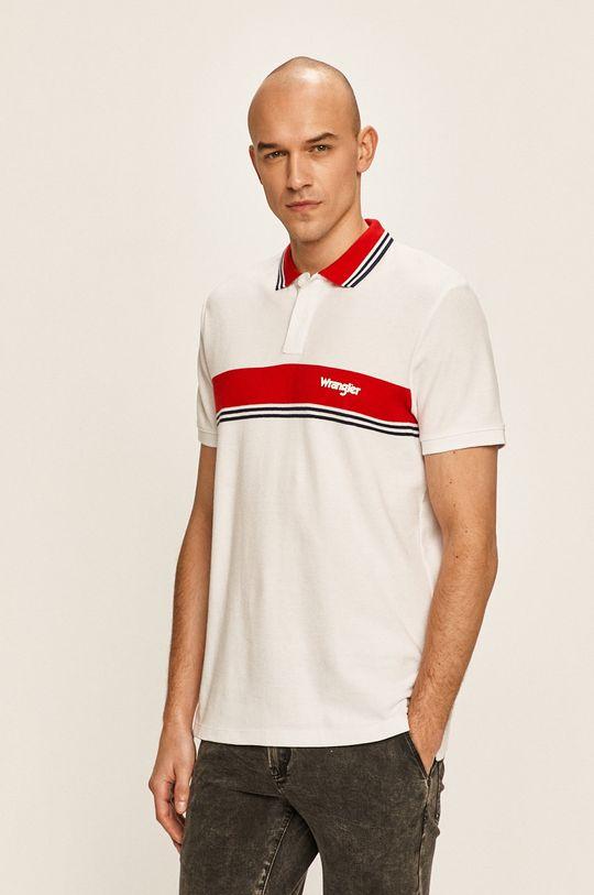 бял Wrangler - Тениска с яка Чоловічий