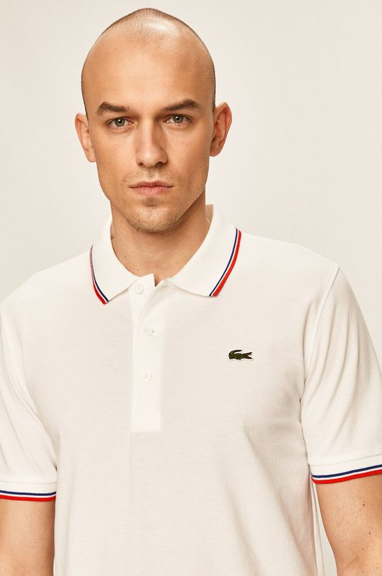 biela Lacoste - Pánske polo tričko Pánsky