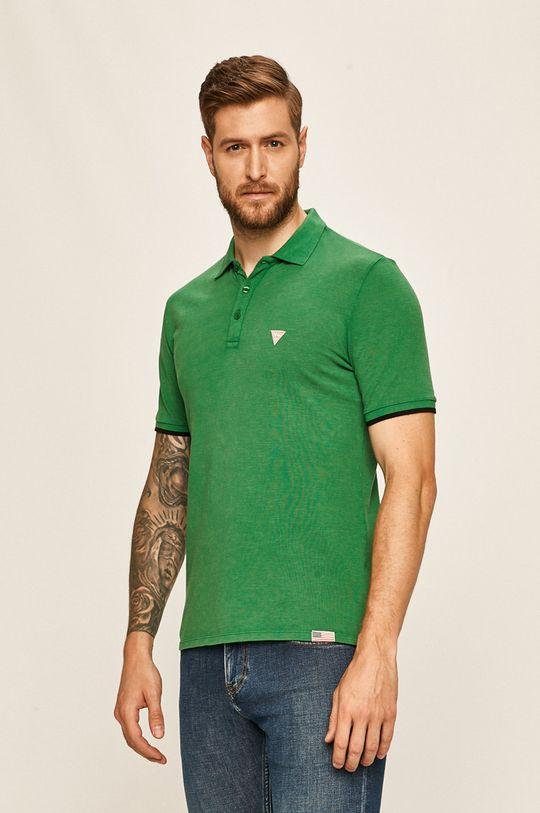 zelená Guess Jeans - Polo tričko Pánský