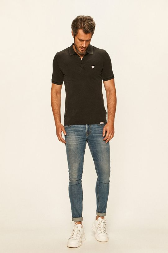 Guess Jeans - Polo tričko černá