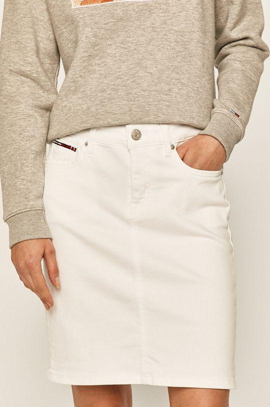 biela Tommy Jeans - Rifľová sukňa Dámsky