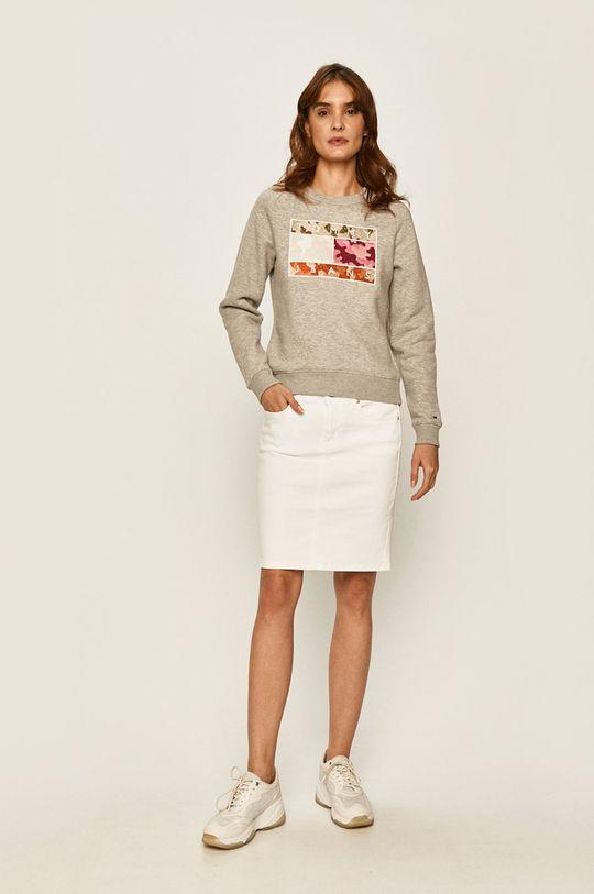 Tommy Jeans - Rifľová sukňa biela