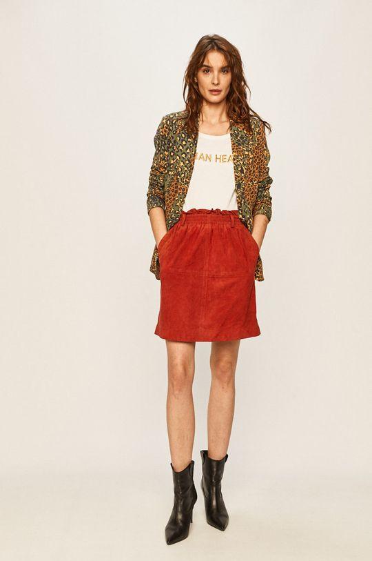Pepe Jeans - Kožená sukňa Vivian sýtočervená