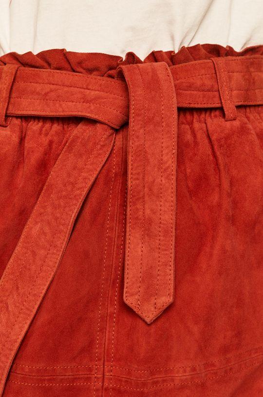 sýtočervená Pepe Jeans - Kožená sukňa Vivian