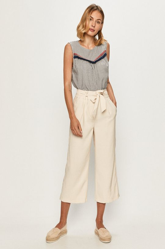 Vero Moda - Spodnie kremowy