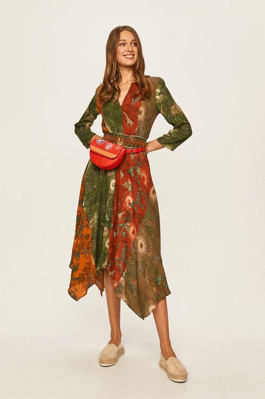 Desigual - Šaty olivová