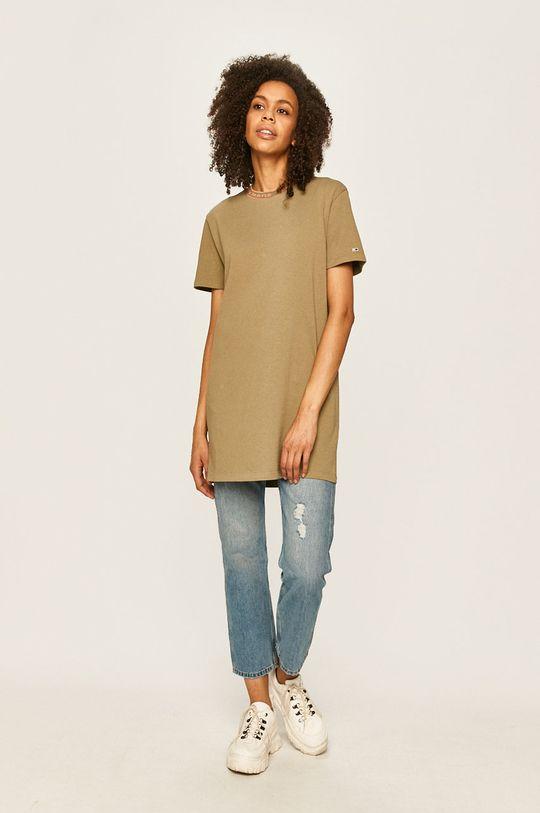Tommy Jeans - Šaty hnedozelená