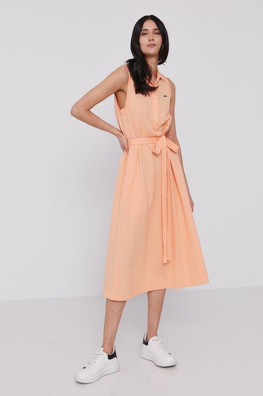 Lacoste - Šaty broskvová