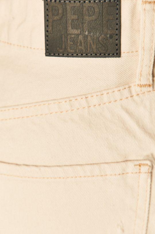 krémová Pepe Jeans - Rifľové krátke nohavice Mable