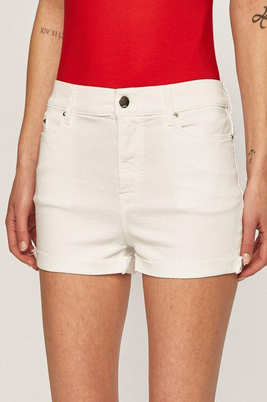 biela Karl Lagerfeld Denim - Rifľové krátke nohavice Dámsky