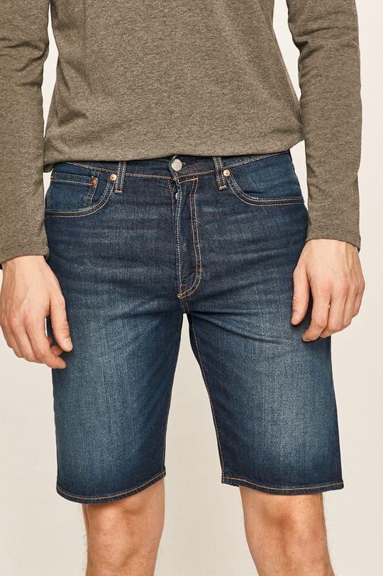 tmavomodrá Levi's - Rifľové krátke nohavice Pánsky