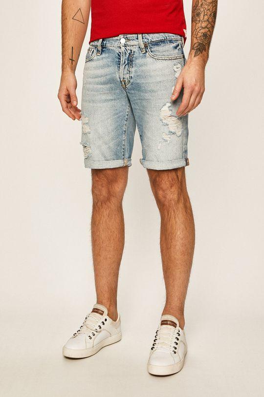 svetlomodrá Guess Jeans - Rifľové krátke nohavice Pánsky