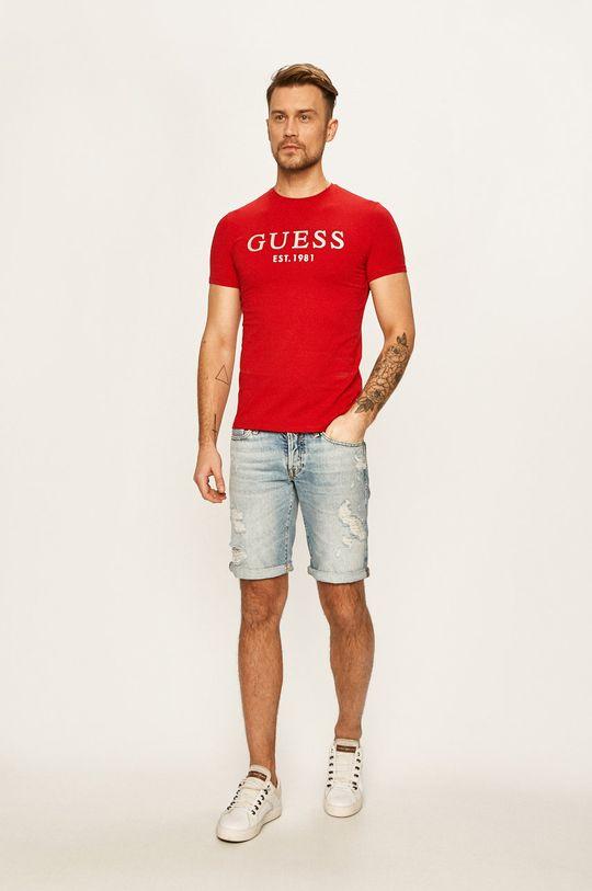 Guess Jeans - Rifľové krátke nohavice svetlomodrá
