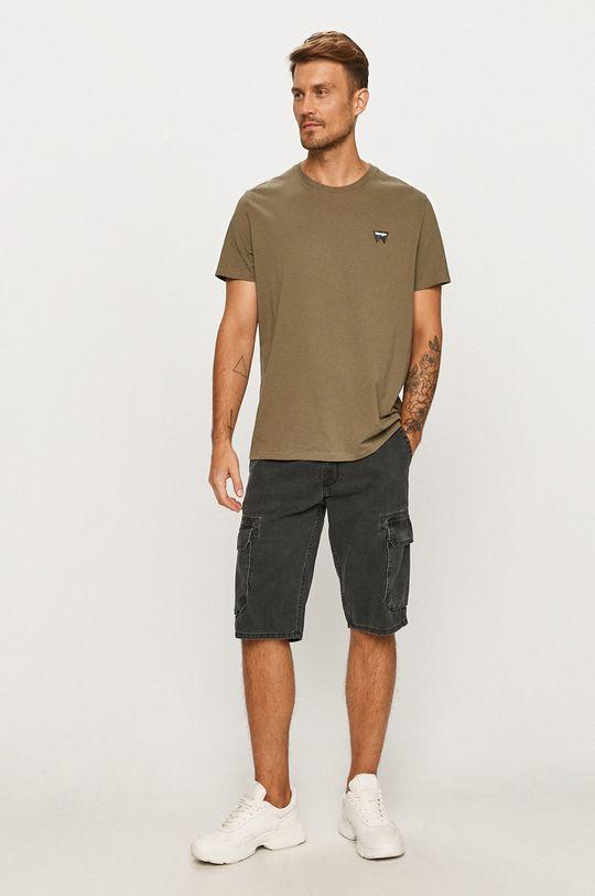 Wrangler - Rifľové krátke nohavice sivá