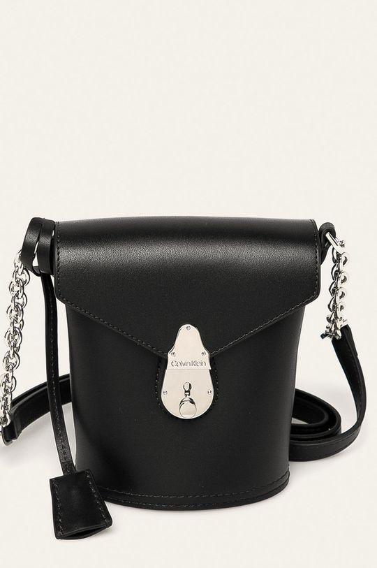 černá Calvin Klein - Kožená kabelka Dámský