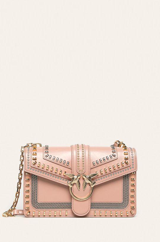 pastelově růžová Pinko - Kožená kabelka Dámský
