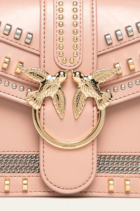 Pinko - Kožená kabelka pastelově růžová