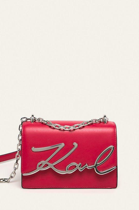 sýto ružová Karl Lagerfeld - Kožená kabelka Dámsky