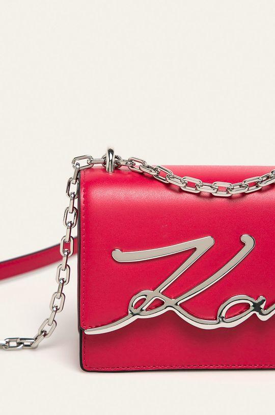 Karl Lagerfeld - Kožená kabelka sýto ružová
