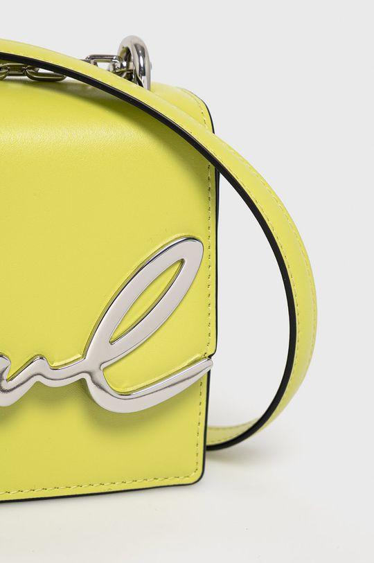 Karl Lagerfeld - Kožená kabelka žlutě zelená