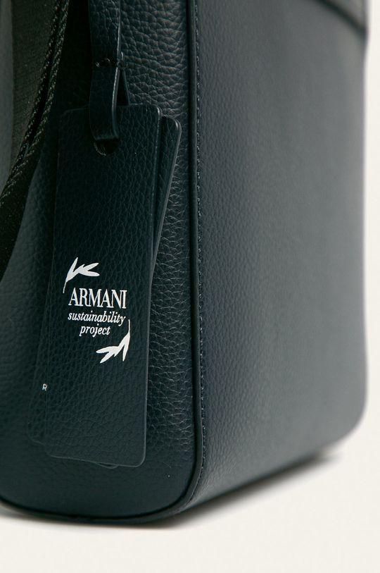 Emporio Armani - Kožená taška tmavomodrá