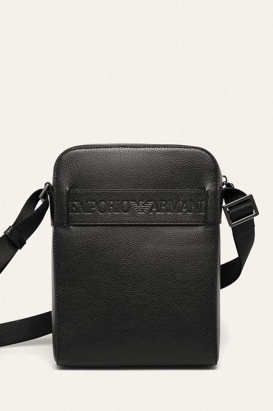 čierna Emporio Armani - Kožená taška Pánsky