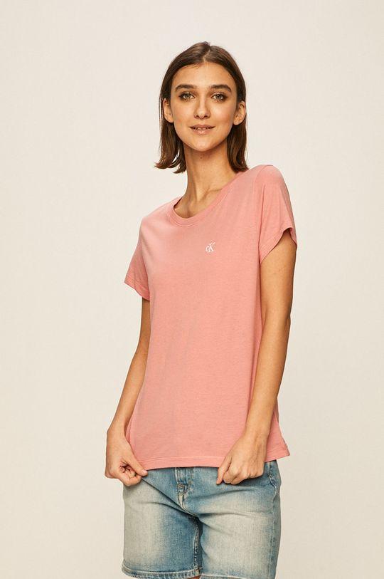 brudny róż Calvin Klein Jeans - T-shirt Damski