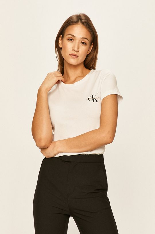 alb Calvin Klein Jeans - Tricou (2-pack) De femei