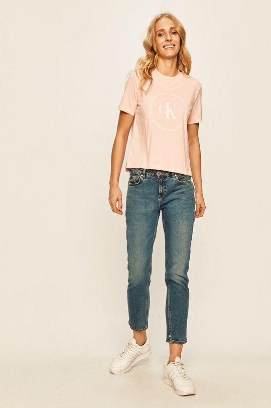 Calvin Klein Jeans - Tricou roz pastelat