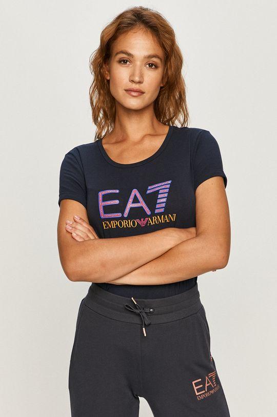 granatowy EA7 Emporio Armani - T-shirt Damski