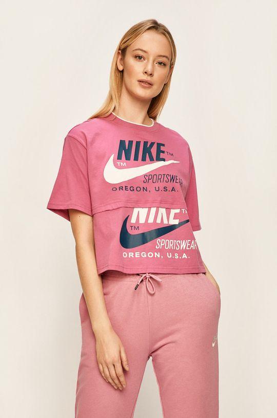 fuchsiová Nike Sportswear - Tričko Dámský