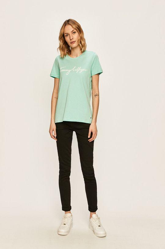 Tommy Hilfiger - T-shirt jasny turkusowy