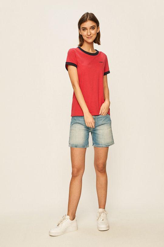 Tommy Jeans - T-shirt ostry różowy