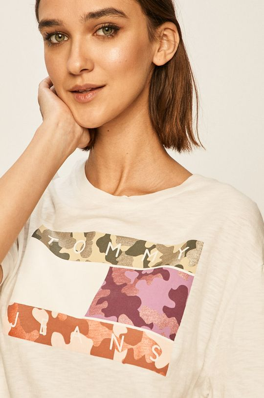 alb Tommy Jeans - Tricou