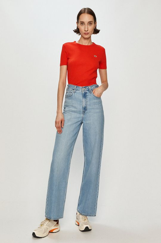 Lacoste - T-shirt ostry czerwony
