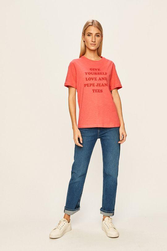 Pepe Jeans - T-shirt Freja ostry różowy