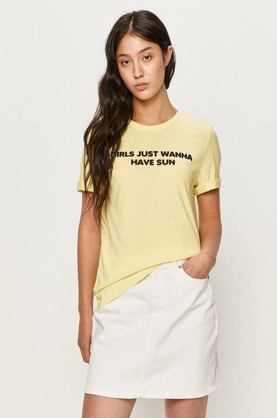 jasny żółty Only - T-shirt Damski