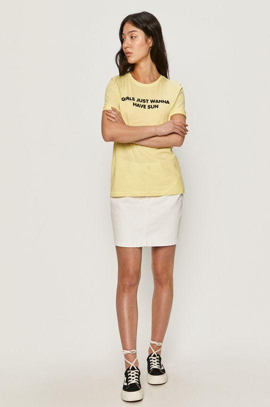Only - T-shirt jasny żółty