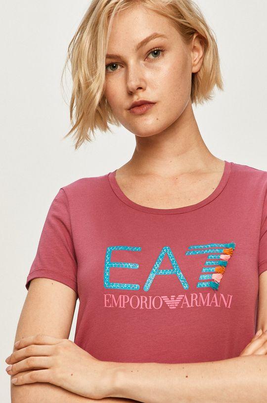 różowy EA7 Emporio Armani - T-shirt Damski
