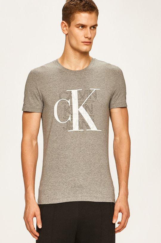 světle šedá Calvin Klein Jeans - Tričko Pánský