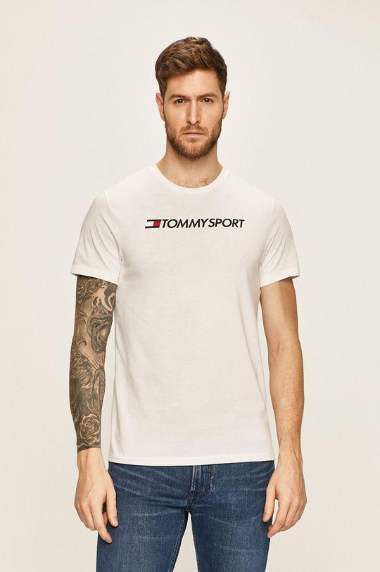 biały Tommy Sport - T-shirt Męski