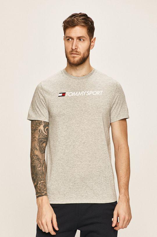 szary Tommy Sport - T-shirt Męski