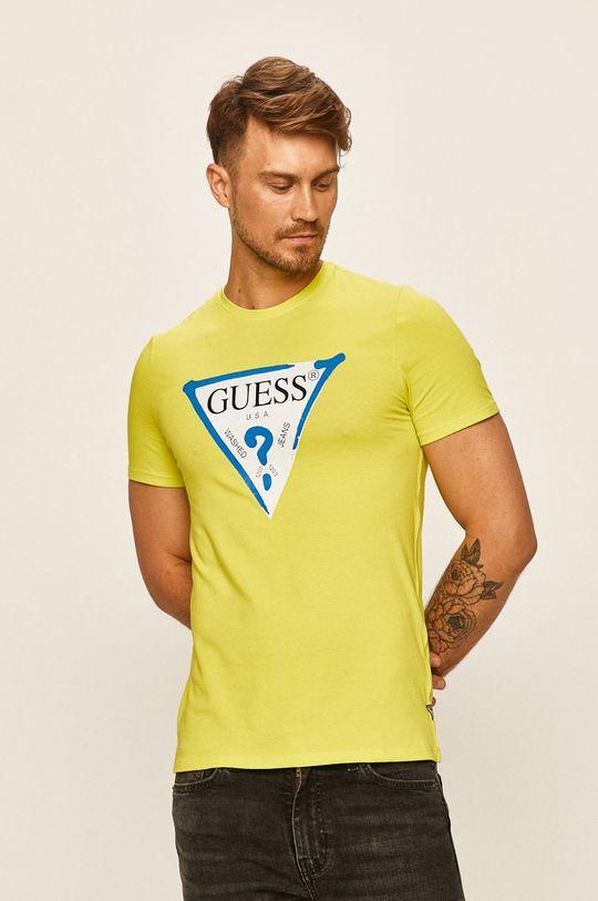 žlutě zelená Guess Jeans - Tričko Pánský