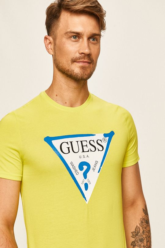 žlutě zelená Guess Jeans - Tričko