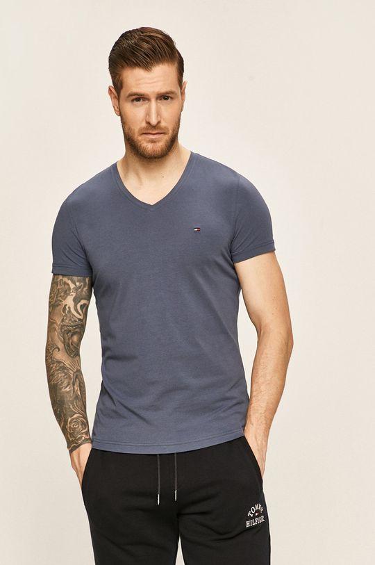 stalowy niebieski Tommy Hilfiger - T-shirt Męski