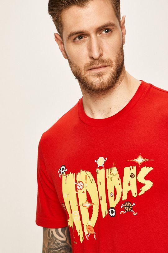 červená adidas Performance - Pánske tričko Pánsky